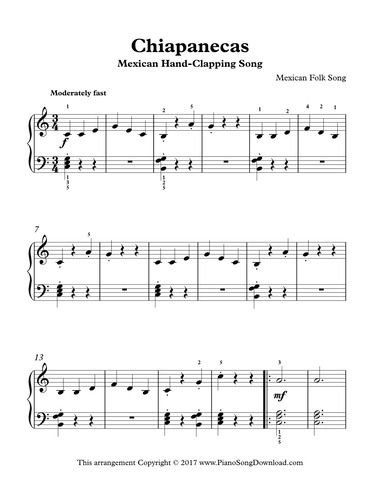 Mexican Hand Clapping Song Chiapanecas Early Intermediate Sheet