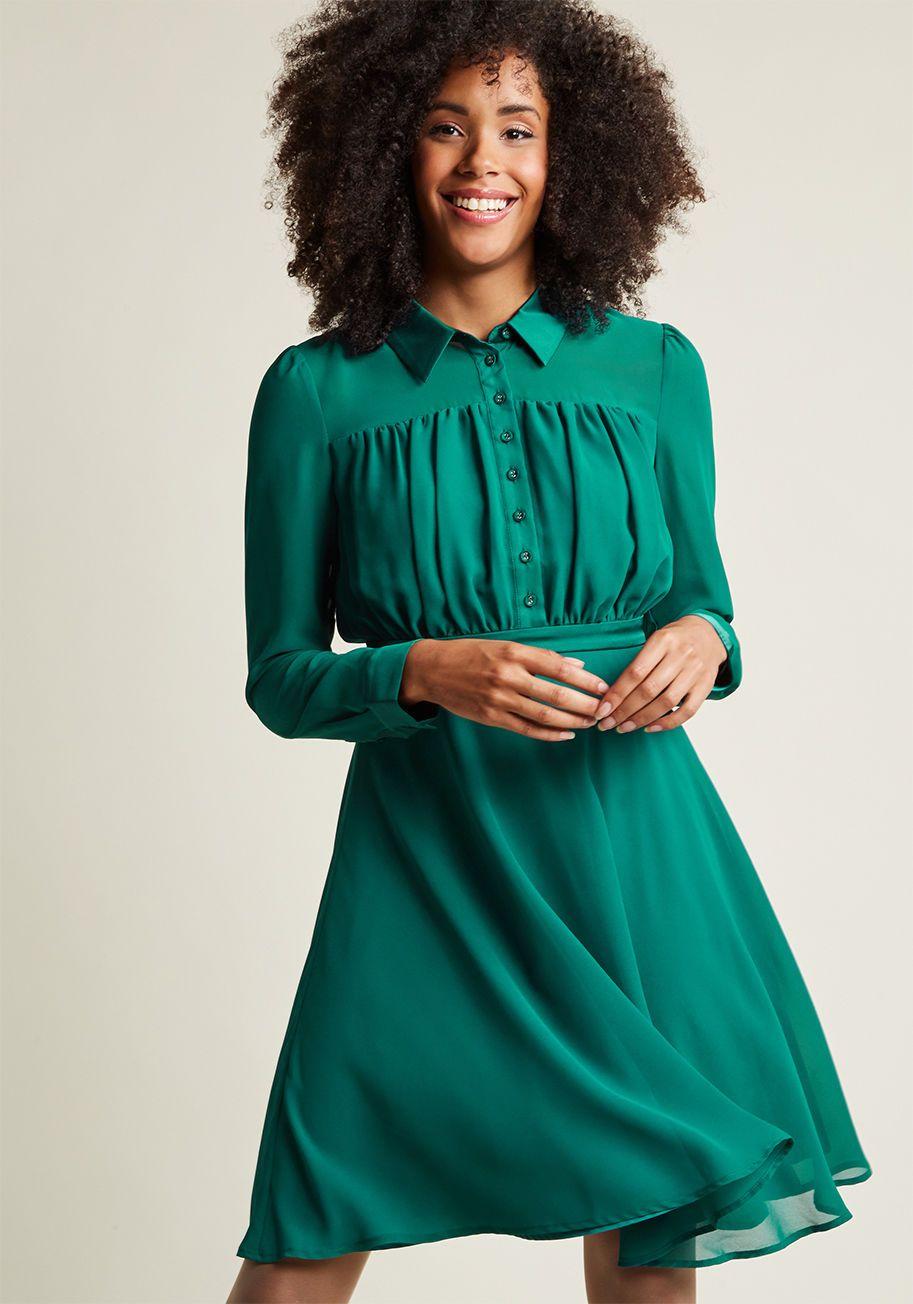 Long sleeve chiffon shirt dress in pine green shirt dress
