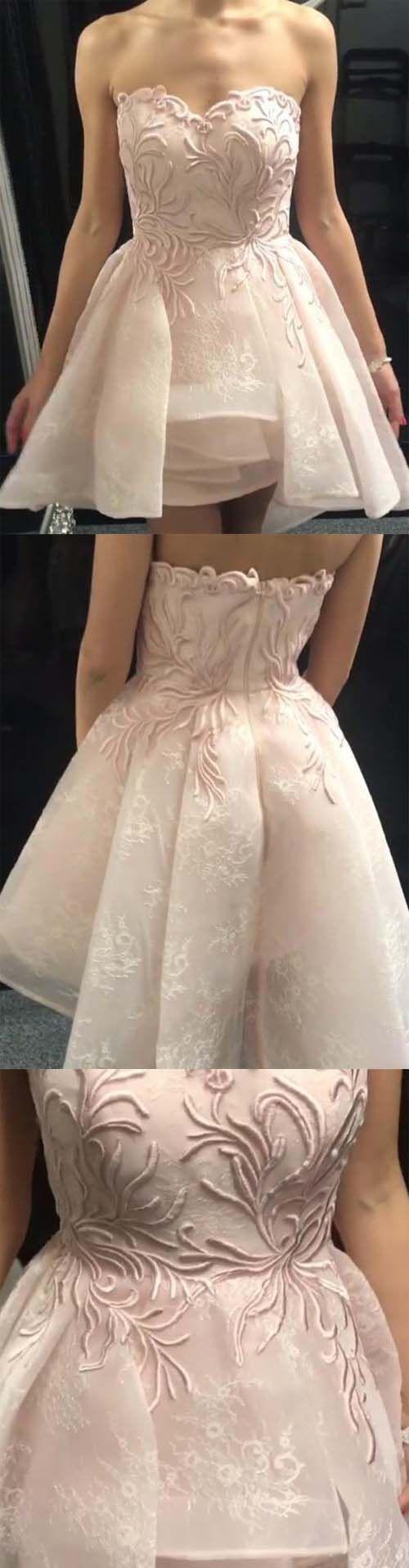 A line sweetheart high low organza homecominggraduation dress with