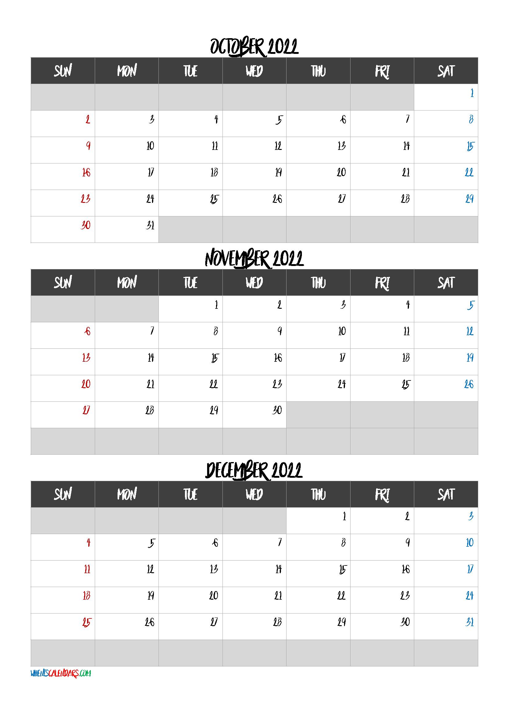 October November December 2022 Calendar Printable Free Q1 Q2 Q3 Q4 Printable Calendar July Calendar Printables Calendar October