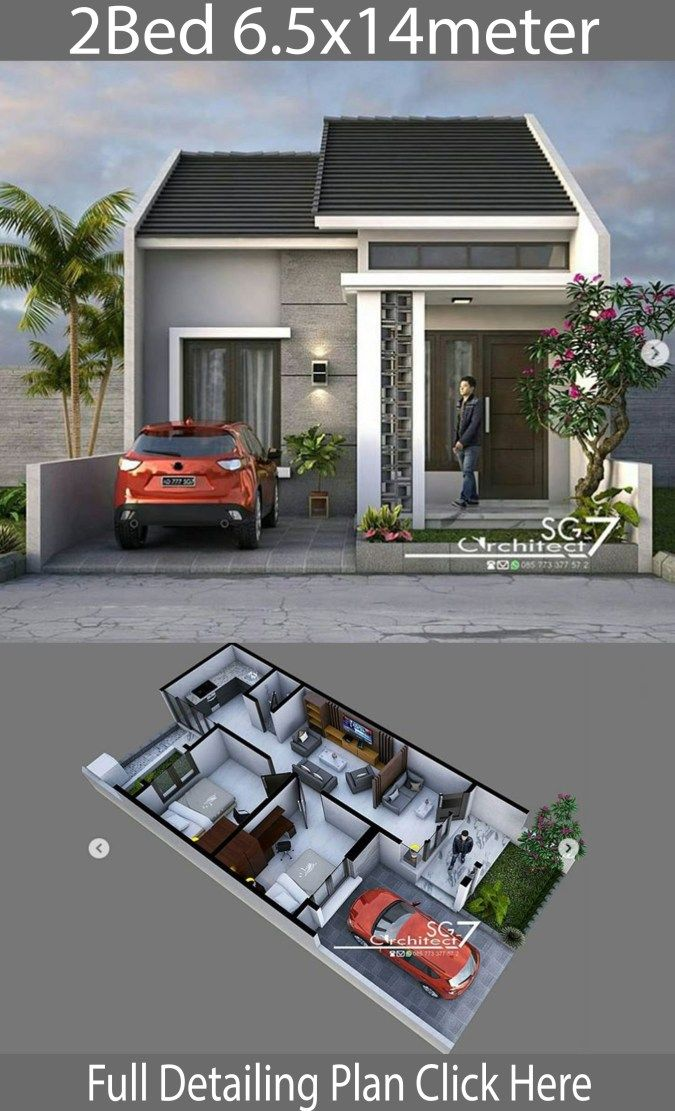 2 Bedrooms Home Design Plan 6 5x14m House Description One Car Parking And Gardenground Minimalist House Design Minimalis House Design Small House Design Plans Small house plan with car parking