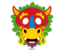 chinese dragon mask templates including a coloring page version of ... - Chinese Dragon Mask Coloring Pages