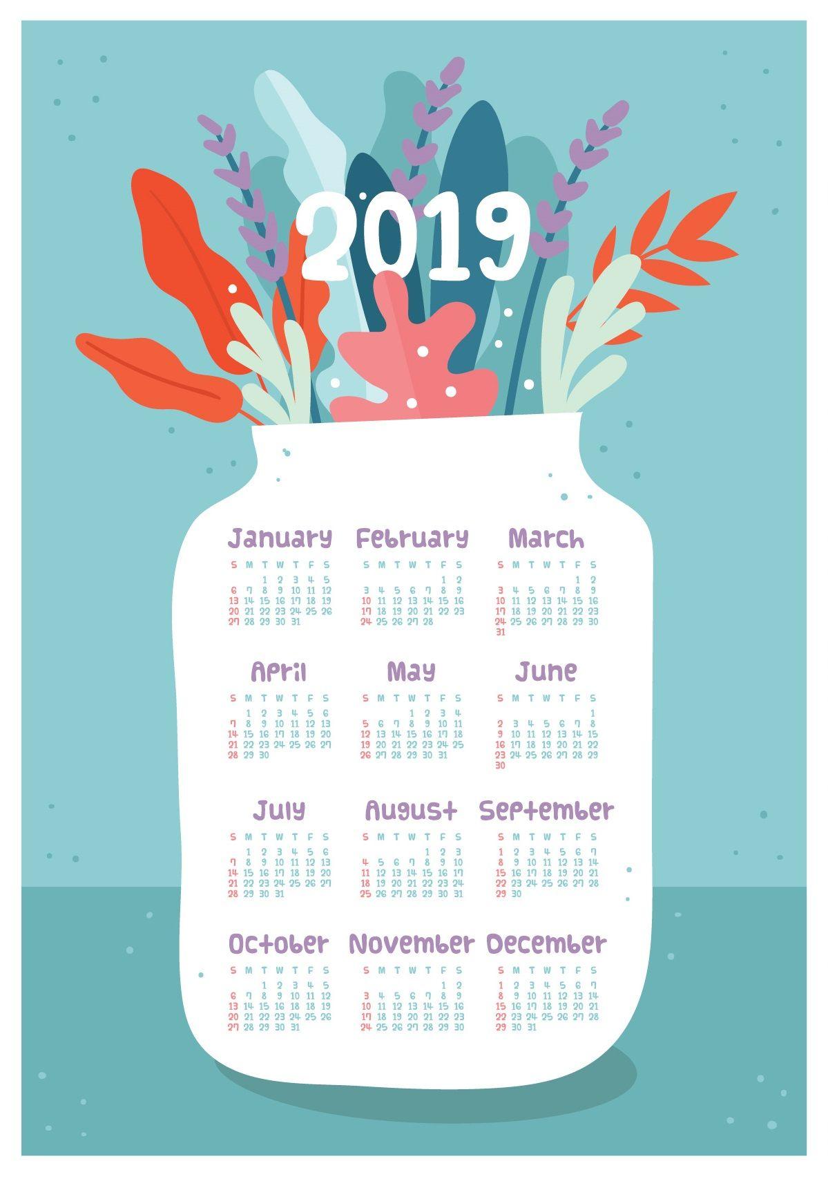 2019 Calendar Photo Frame Design Monthly Calendar Templates