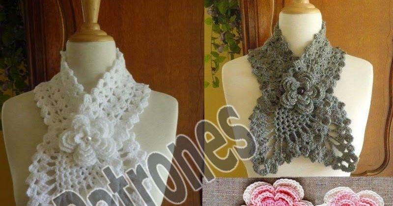 Crochet Bufanda 2 hojas Rápida y fácil de hacer en gancho estambre o ...