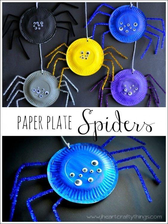 Paper Plate Spiders #halloweenactivities