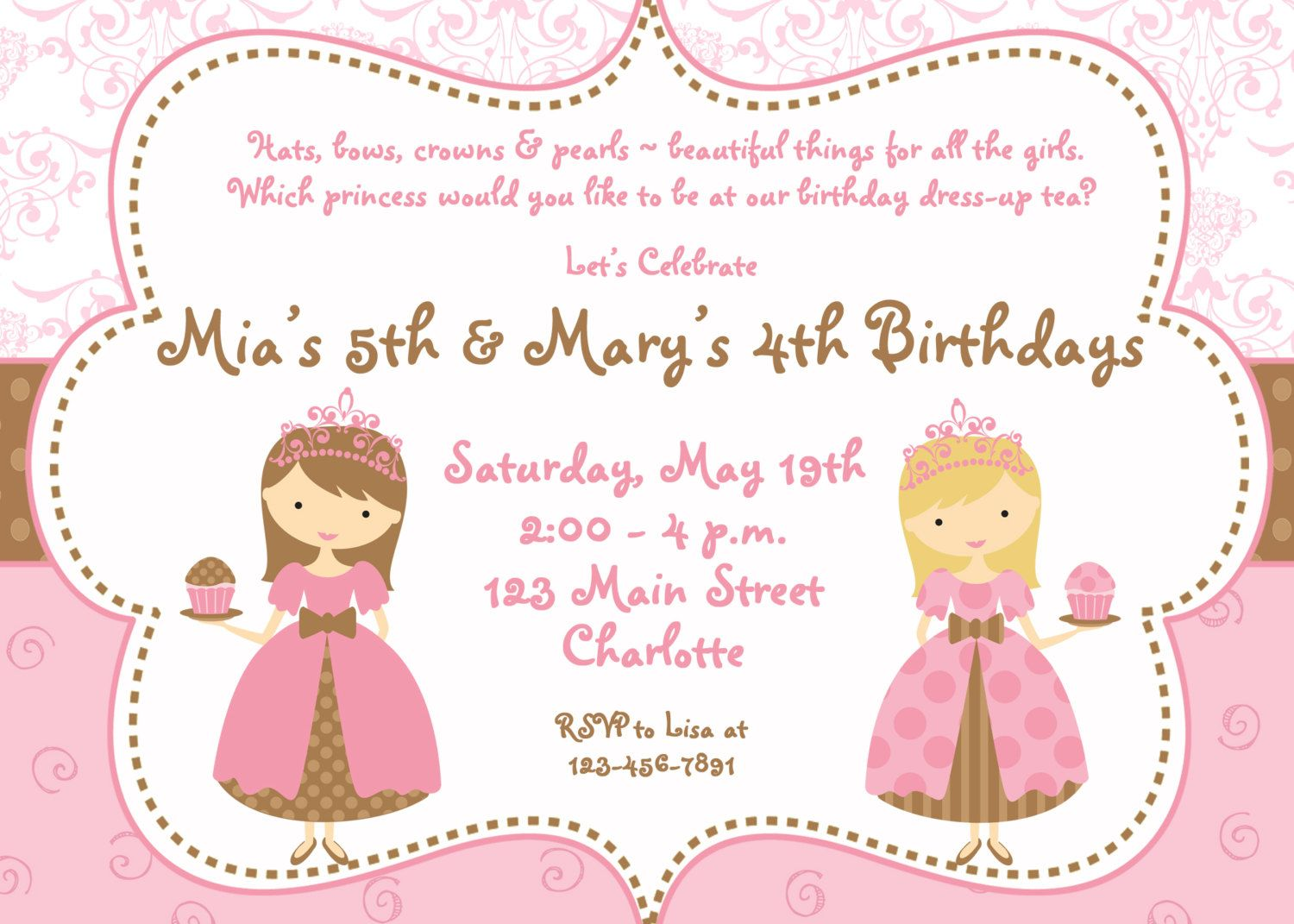 Two Princesses Tea Party Birthday Invitation, via Etsy. | Birthday ...