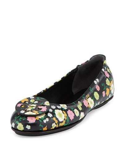 ac08d37301d7 TORY BURCH Minnie Floral Travel Logo Ballerina Flat