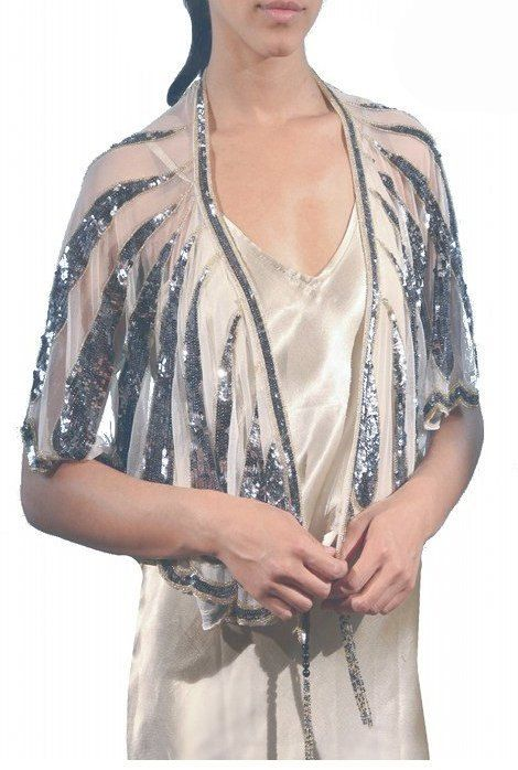 Ethereal 1920's HARLOW Beaded Flapper Wedding Shawl by TheDecoHaus