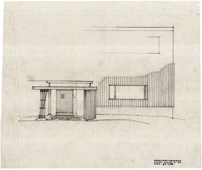 Alvar aalto villa mairea sketch for entrance for Carreras de arquitectura