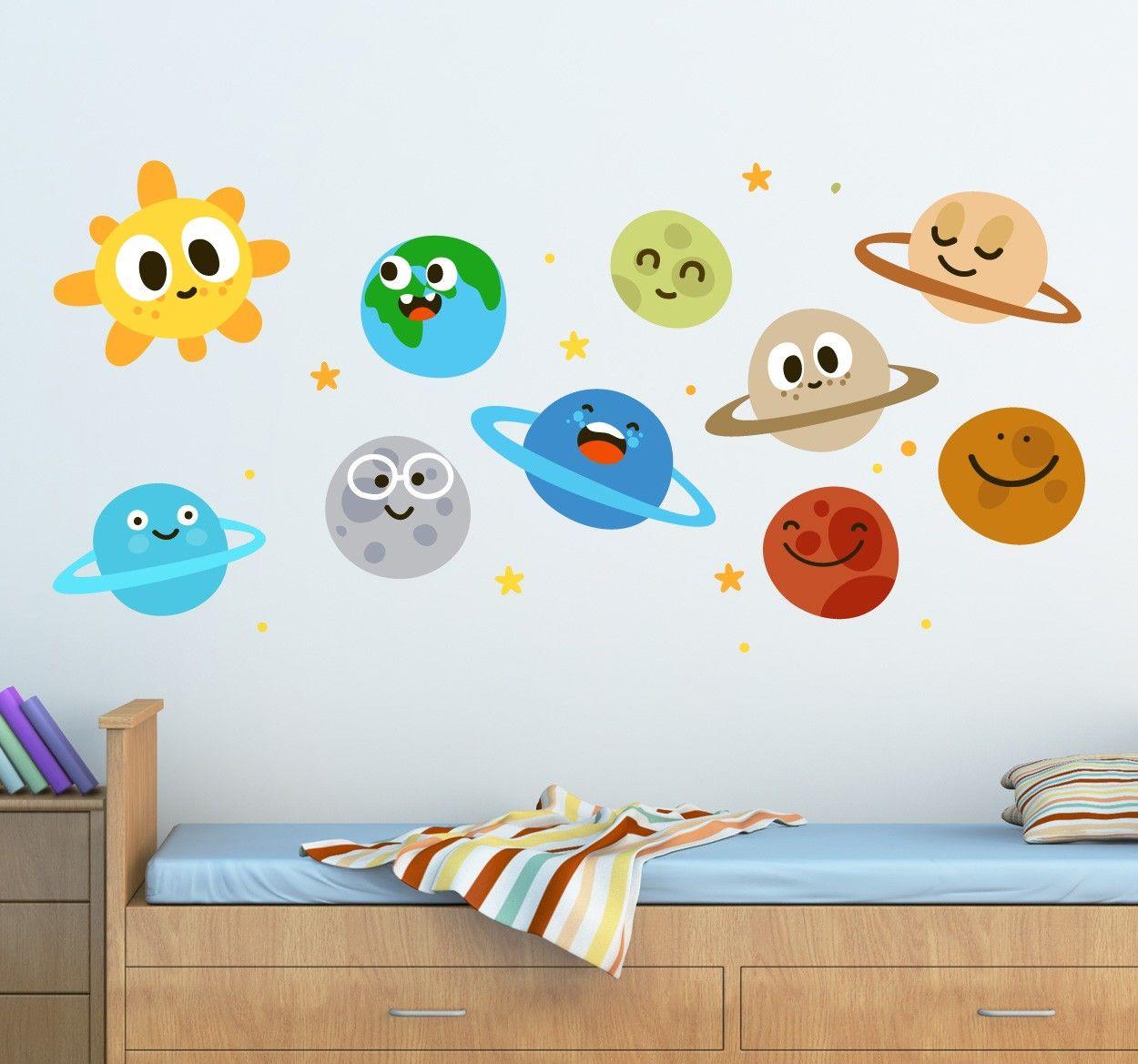 Vinilo infantil planetas divertidos decoracion y for Pegatinas habitacion nina