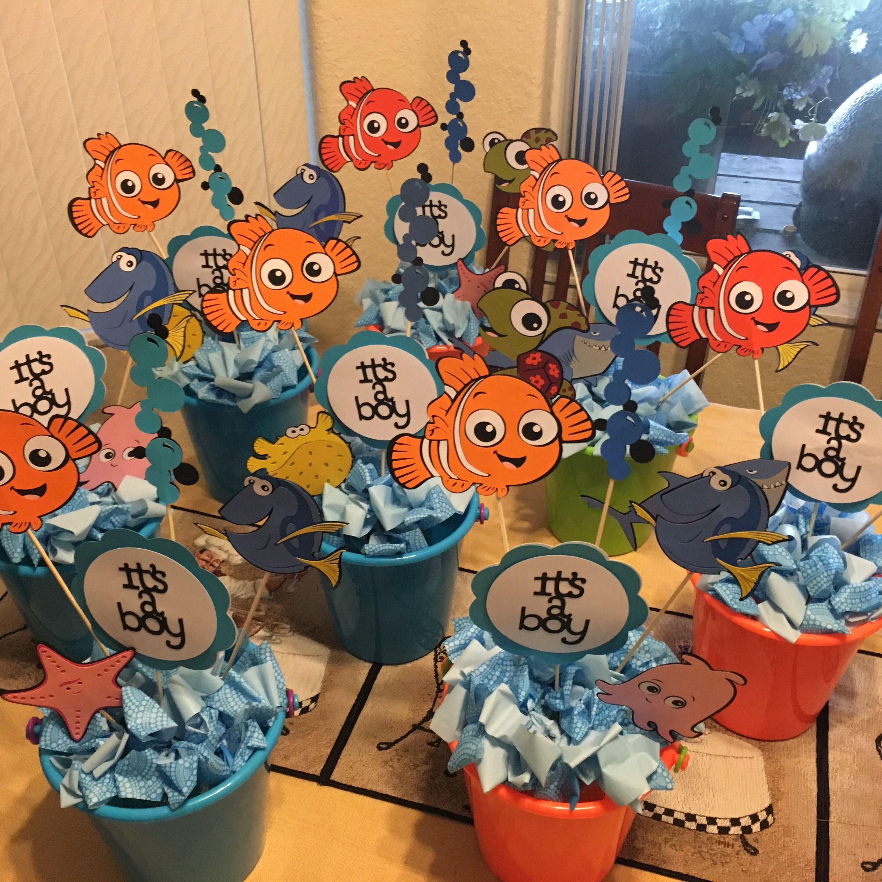 Finding Nemo Baby Shower Centerpieces. Used Cricut Best Of Pixar Cartridge.