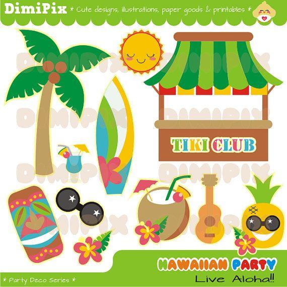 Hawaiian Party Kit printable / imagenes digitales por DimiPix