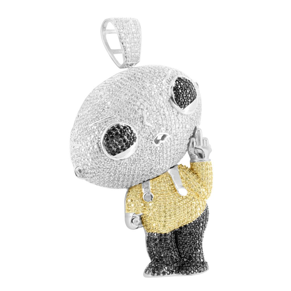 Thinking stewie in white gold finish black yellow white lab diamond thinking stewie in white gold finish black yellow white lab diamond pe masterofbling aloadofball Images