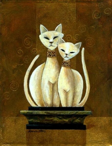 White cat paintings. Marcia Stacy