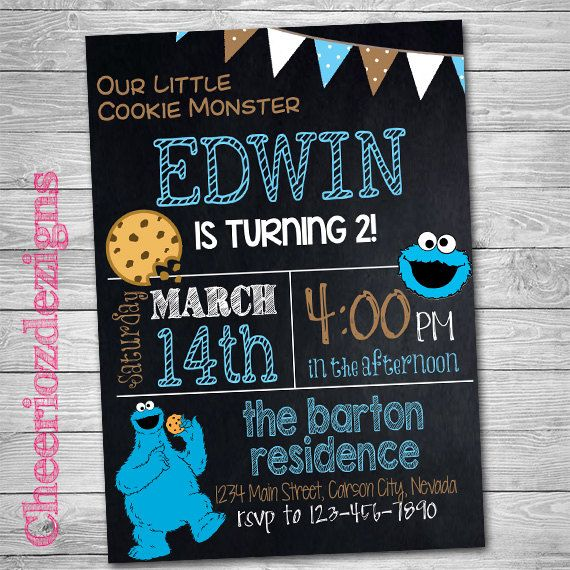 Cookie Monster Invitation Cookie Monster By Cheeriozdezigns Emis