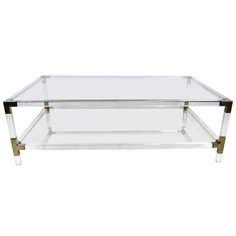 Lucite And Bronze Metric Line Coffee Table By Charles Hollis Jones