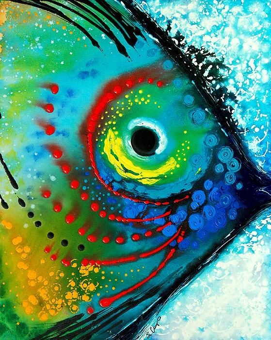Tropical fish colorful abstract beach art special sale for Fish paintings on canvas