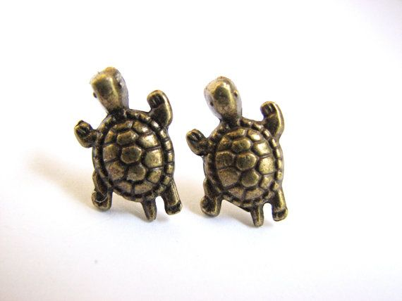 Gold Turtle Earrings Studs Sea Br By Onyourons 15 00
