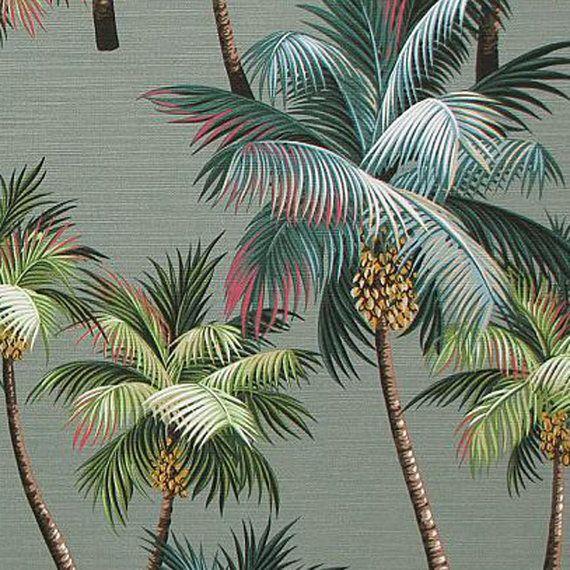 1 2 Yd Palm Tree Tropical Upholstery Hawaiian Cotton By Gbaghawaii