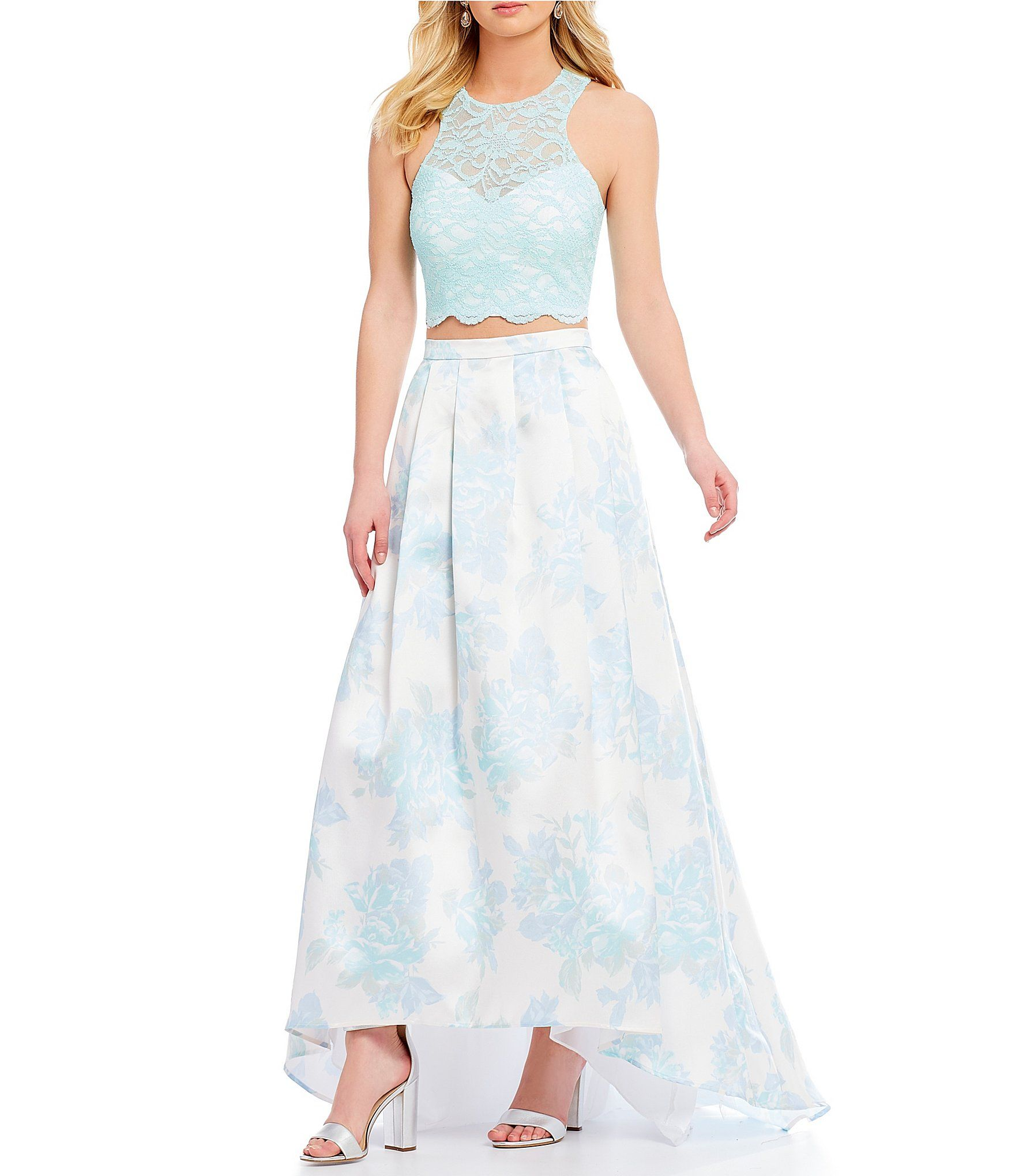 Morgan u co lace xback top with floral skirt twopiece long dress