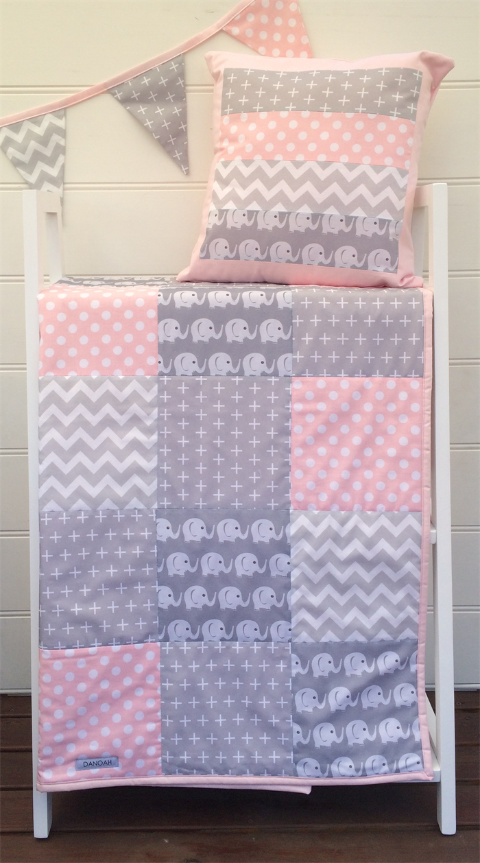 Baby Cot Patchwork Quilt w/ Pink and Grey Elephant Pattern | Baby ... : baby patchwork quilts - Adamdwight.com