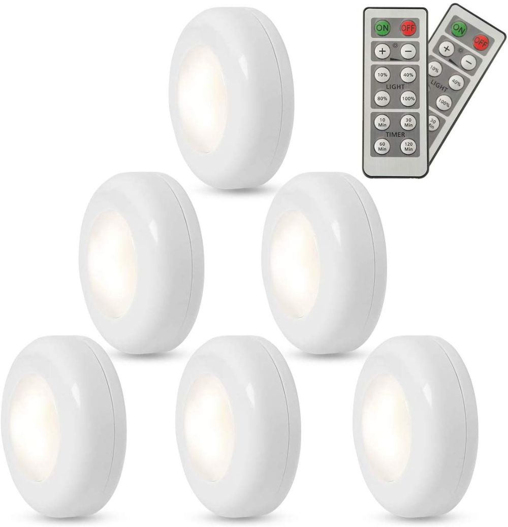 Fxwsky Led Puck Lights Battery Operated 6 Pack Under Cabinet Lighting Wireless With Remote Control Timer Function Closet Light 4000k Under Cabinet Lighting Wireless Led Puck Lights Puck Lights