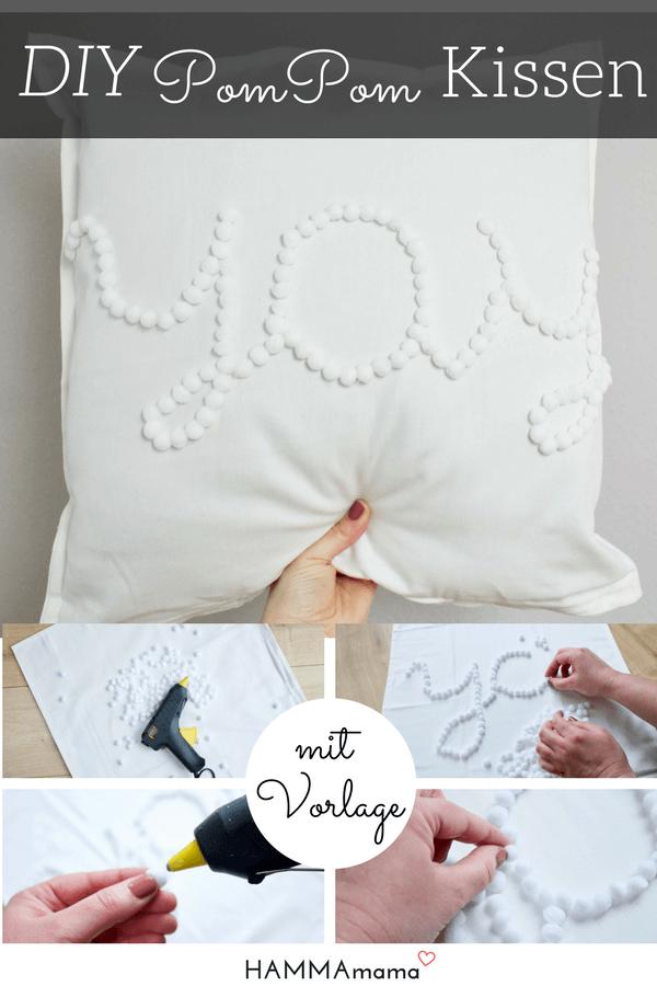 diy kissen selber machen mit pompoms ohne n hen yay deutsche diy blogger winter advent. Black Bedroom Furniture Sets. Home Design Ideas