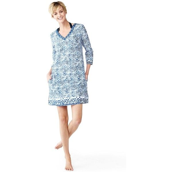 48e9dfff7a Lands  End Women s Petite Embroidered Tunic Cover-up