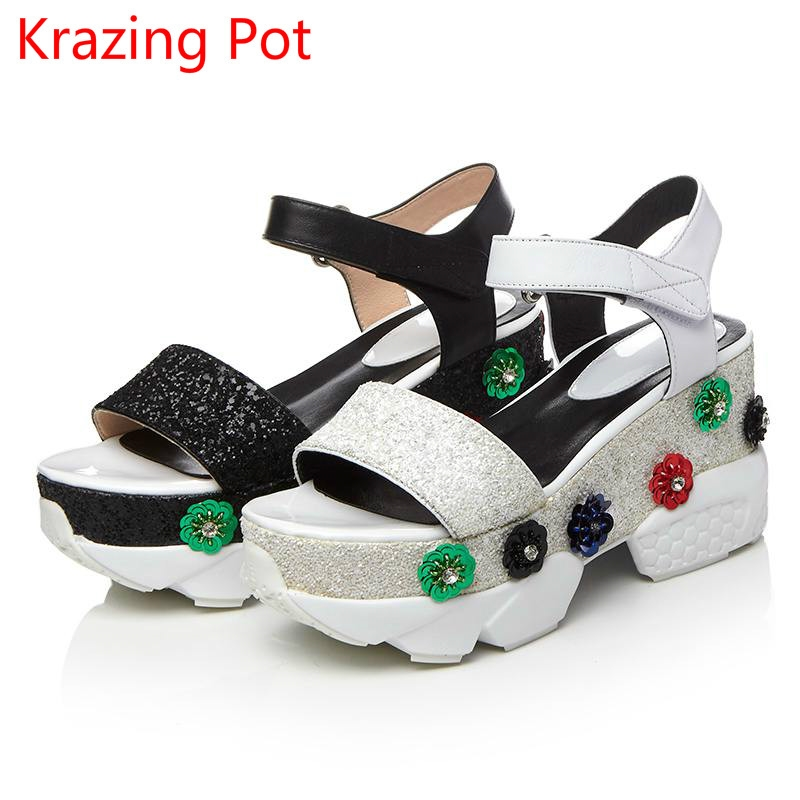 53.55$ Buy here - 2017 Fashion Genuine Leather Brand Summer Shoes Peep Toe  Ankle Strap