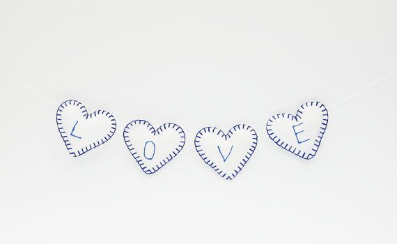 Garland of  Beautiful Hearts in White and Dark blue by gudzy, $25.00