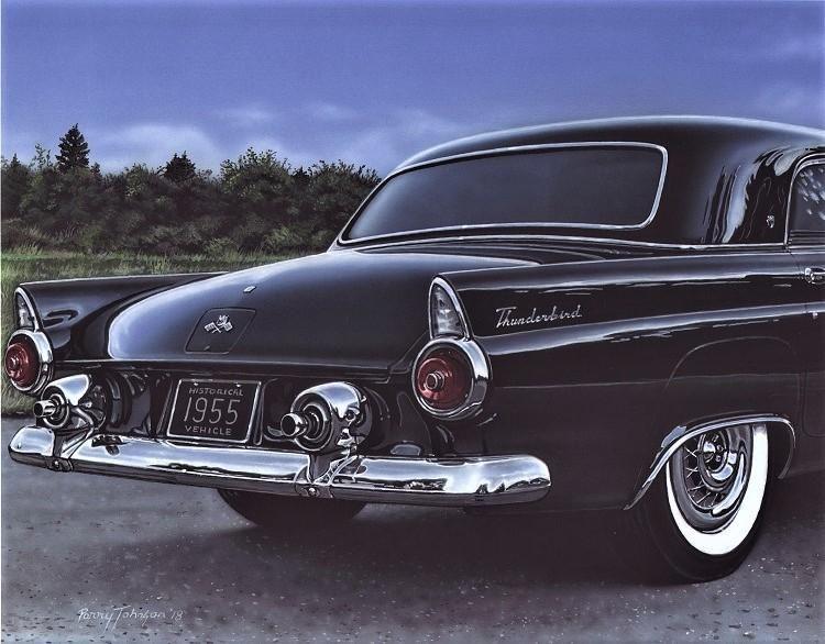 1955 Ford T Bird Classic Car Art Print Black 11x14 Poster Old