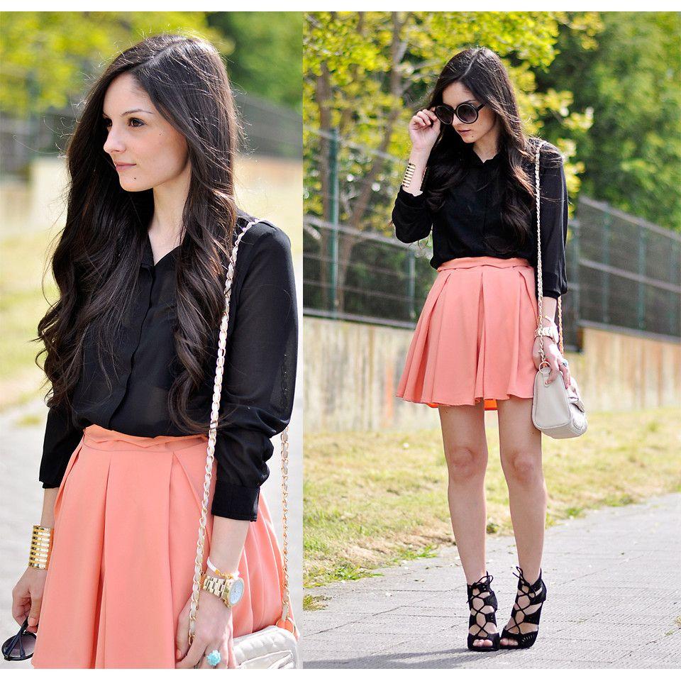 Peach Pink High Waist Pleated Skater Skirt | skirt collection ...