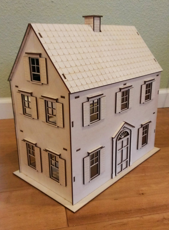 Victorian doll house birch plywood laser cut by for Victorian kit homes