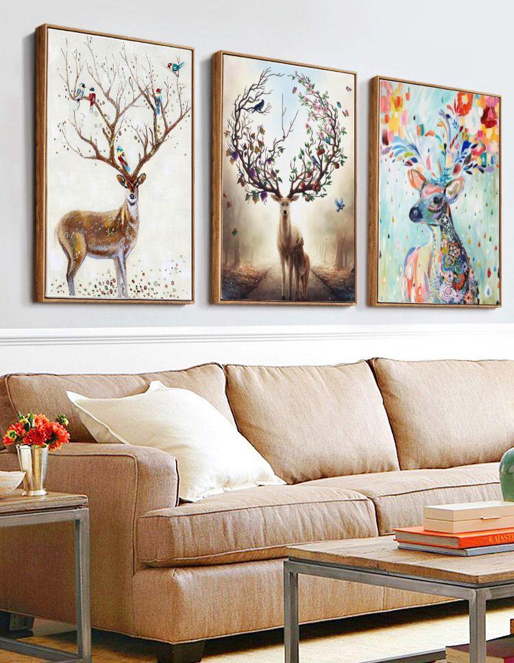 Modern Abstract Elk Deer Canvas Painting Frameless Wall Art Bedroom Living Room Home Decor Newchic Mo Deer Wall Art Wall Art Canvas Painting Bedroom Wall Art
