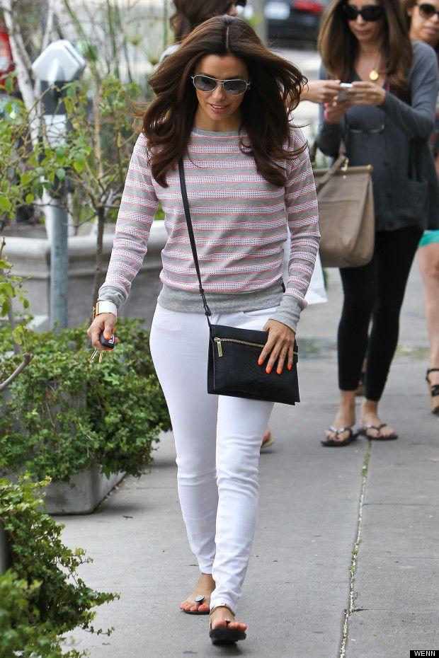 Street Fashion Eva Longoria 39 S Spring Street Style Stripes And Skinny Jeans Mydaily