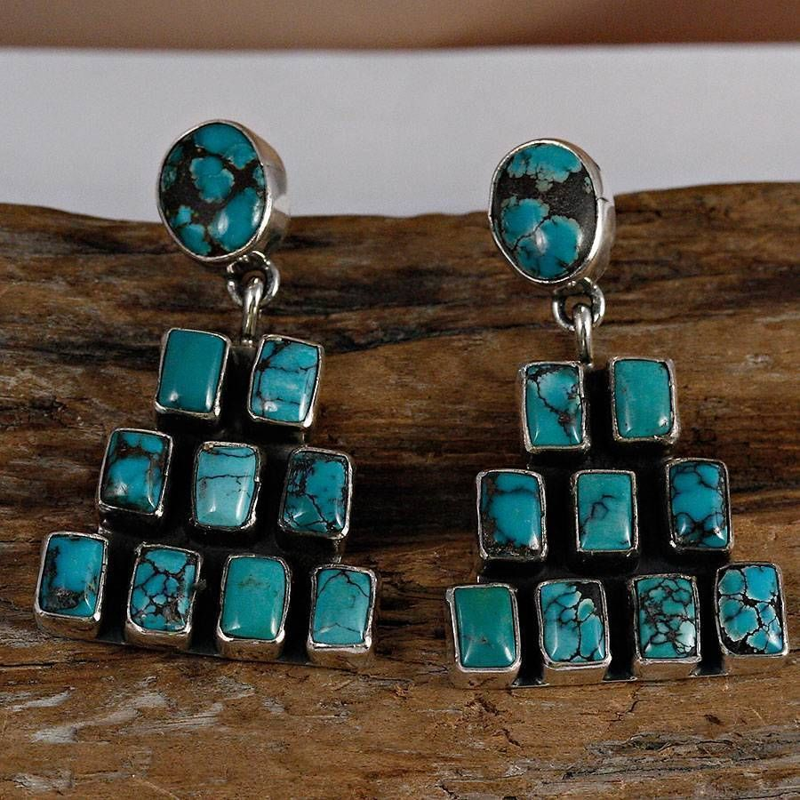 GENEVA APACHITO Pueblo Turquoise Cluster Earrings Sterling Silver Navajo