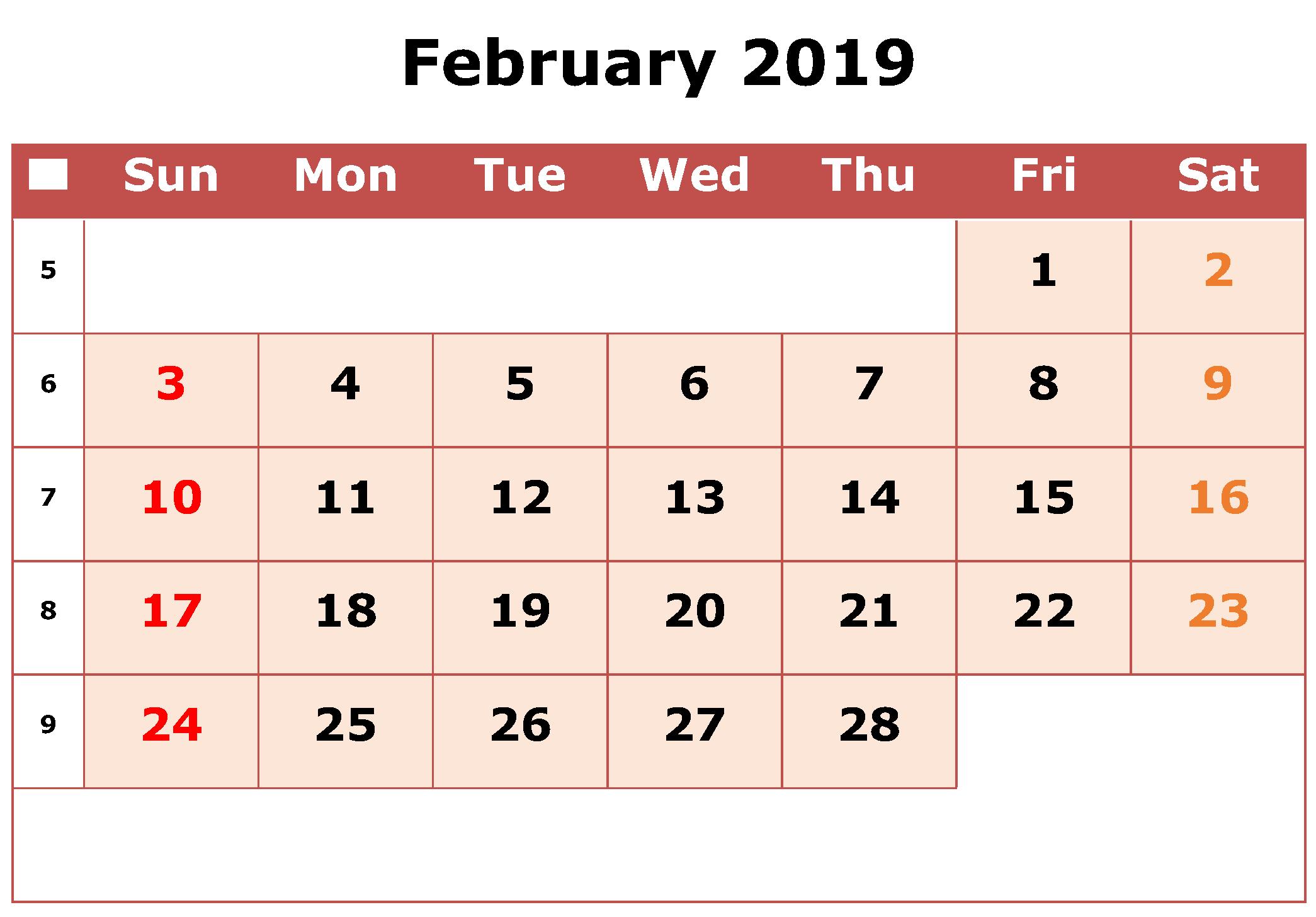 Monthly February Calendar Excel