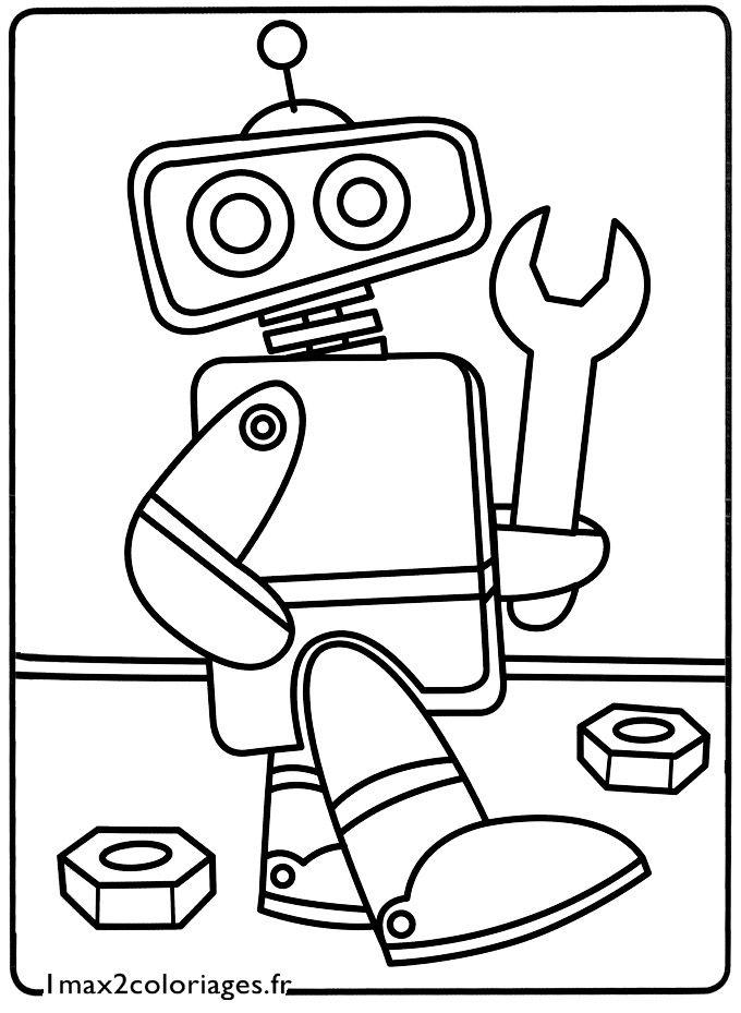 Coloriage mon petit robot kid crafts robots co - Robot coloriage ...