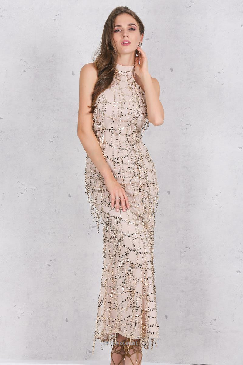 Simplee Apparel Elegant Sequin Tassel Mermaid Maxi Dress - - Casual ...