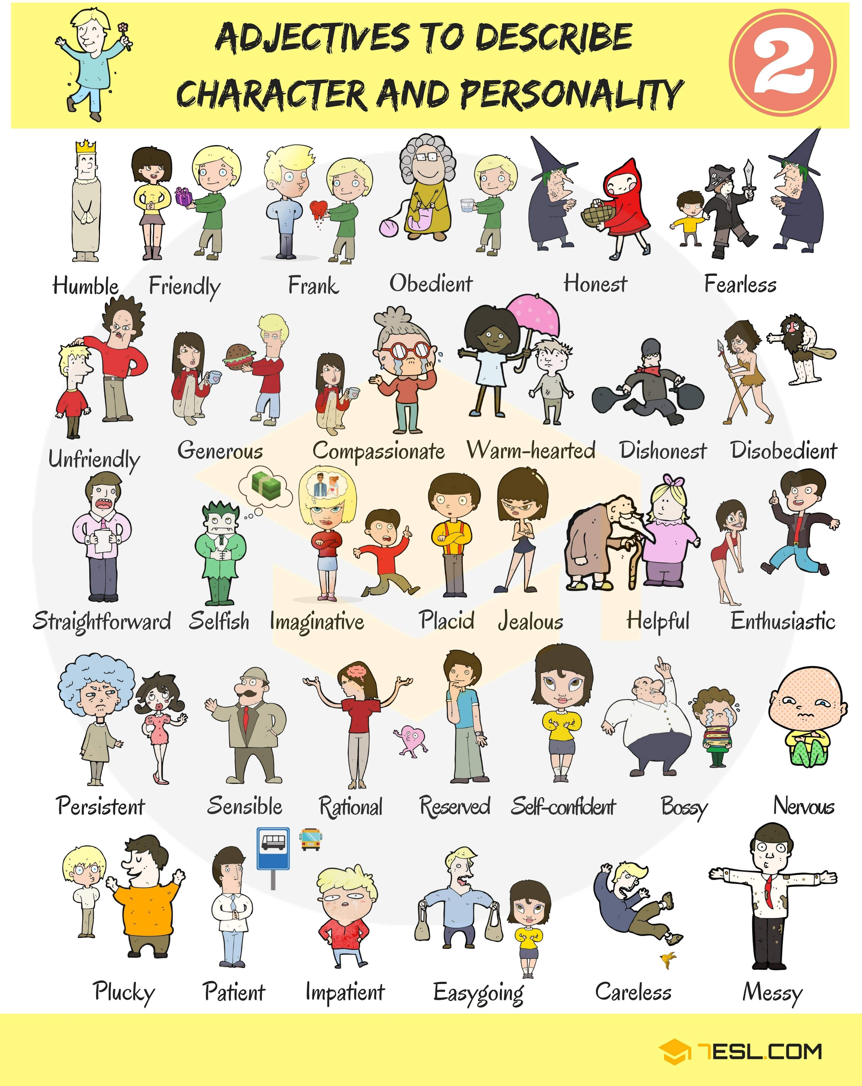 100 Personality Adjectives Adjetivos De Personalidade