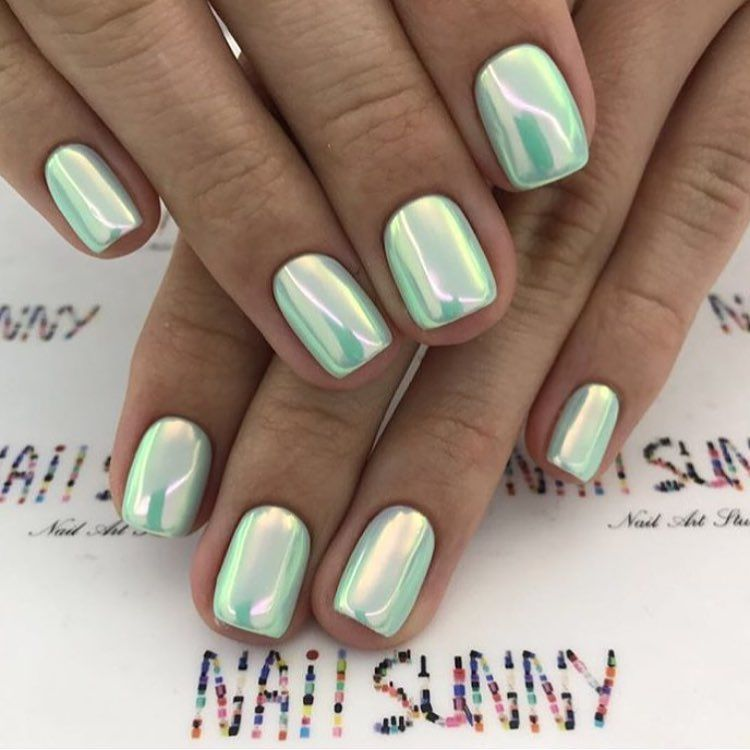Green Chrome Nails Via Makeup Manicure Nail On Instagram