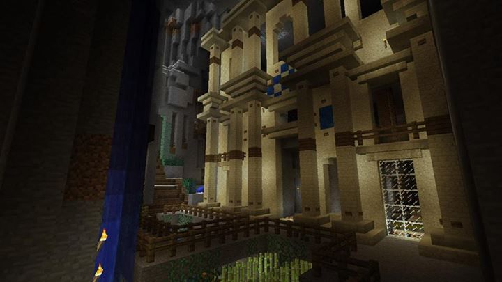 Attractive MineCraft Building Design: Library In A Giant Cave