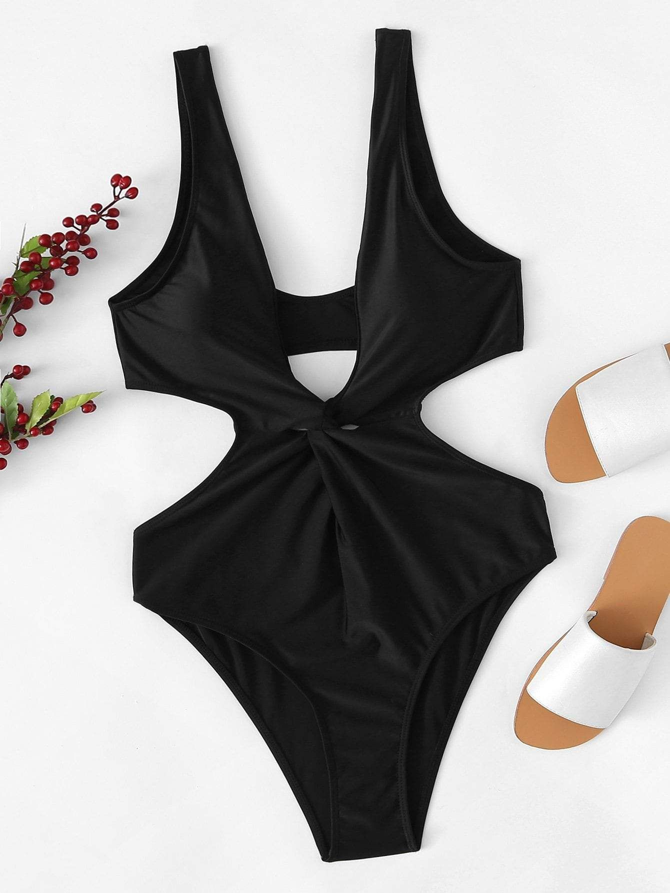 a180ed0eba Twist Front Cut-out One Piece Swimsuit in 2019 | Products | Cut out ...