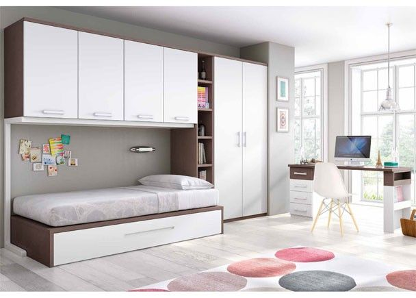 Dormitorio juvenil con cama nido altillo y armario for Escritorio habitacion juvenil