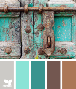 Turquoise, gray and brown