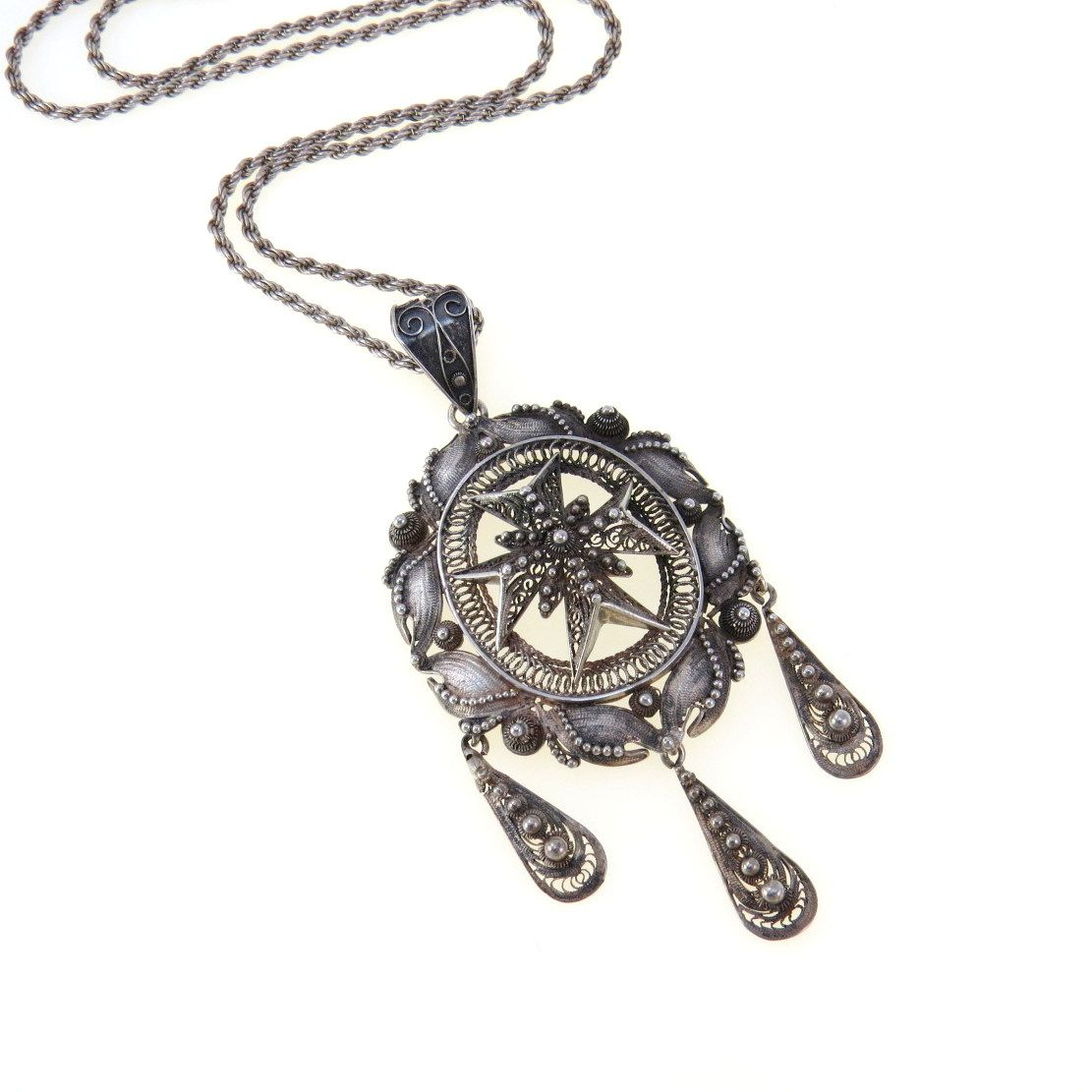 Antique canetille filigree spun silver maltese cross pendant antique canetille filigree spun silver maltese cross pendant necklace aloadofball Images