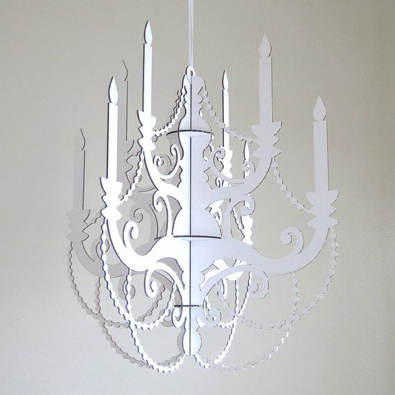 White classic chandelier cardboard chandelier wedding chandelier white cardboard chandelier laser cut party decor mozeypictures Image collections