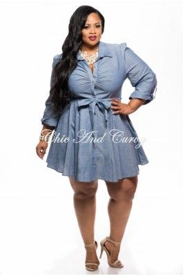 New Plus Size Skater Dress with Button Front and Tie in Light Blue ...