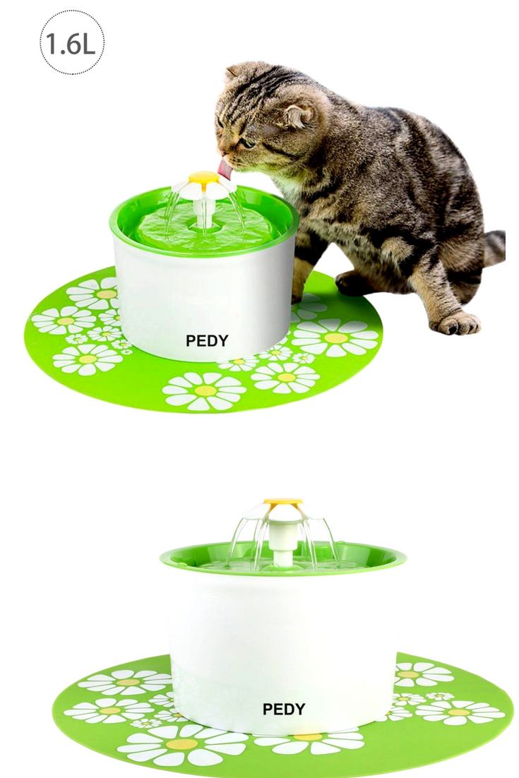 Cat Supplies Fontaine à Fleur Pour Chat Automatic Electric Flower 1.6 L Distributeur Eau Vert