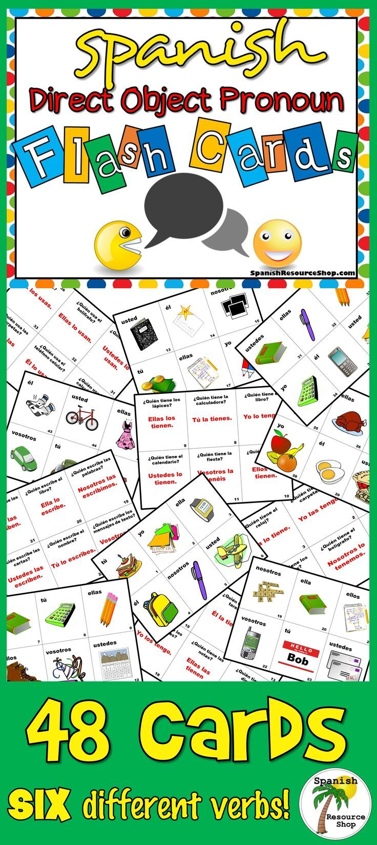 Spanish Direct Object Pronoun Flashcards | Spanish, Worksheets and ...